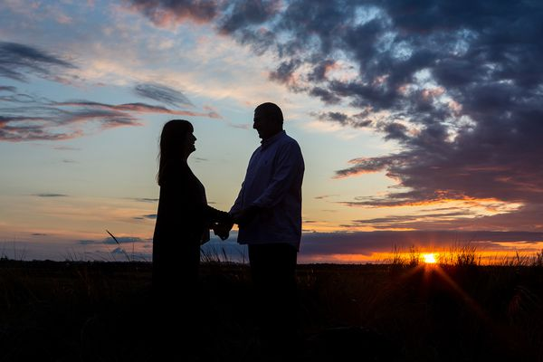 sunset silhouette engagement shoot with I Do Photography